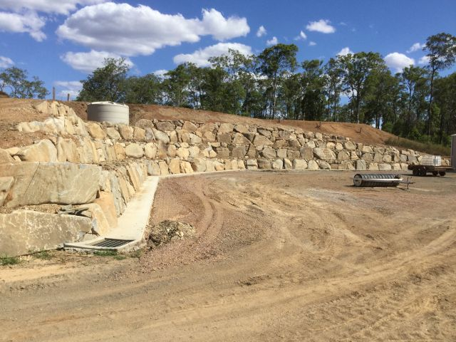 Gympie sunshine coast rock retaining wall